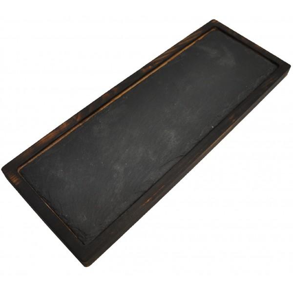 Доска для подачи с обжигом и вставкой из сланца 39х15см ( размер сланца под запрос )