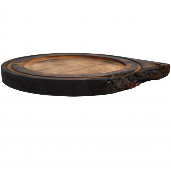Доска из цельного дерева с обжигом под порционную сковородку 25 см
